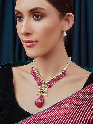 Pink White Gold Tone Kundan Beaded Necklace