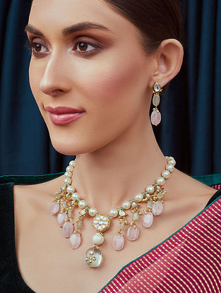 Pink White Gold Tone Kundan Beaded Necklace and Earrings with rose quartz and agate