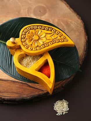 Yellow Mango Handcrafted Wooden Box (L-6.5in, W-3.3in, H-2.5in)