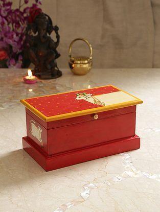 Multicolor Mango Pichwai Handpainted Wooden Cow Box (L-11.5in, W-6.5in, H-5.5in)
