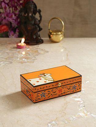 Multicolor Mango Pichwai Handpainted Wooden Cow Box (L-9in, W-5.3in, H-2.7in)