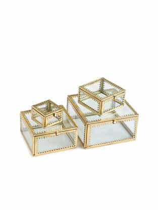 Clear Glass Trinket Storage Boxes with Gold Rim Set of 4