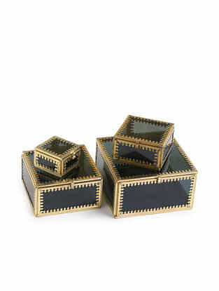 Tinted Glass Trinket Storage Boxes with Gold Rim Set of 4