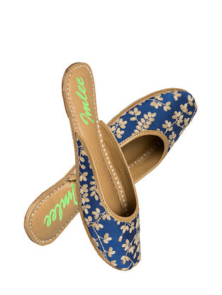 Blue Handcrafted Suede Leather Mojaris