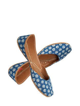 Indigo Handcrafted Suede Leather Juttis