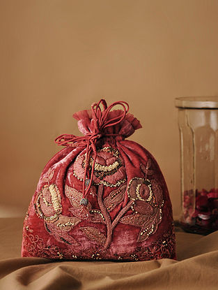 Red Handcrafted Velvet Potli