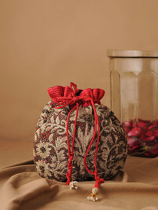 Red Gold Handcrafted Mushroo Silk Potli