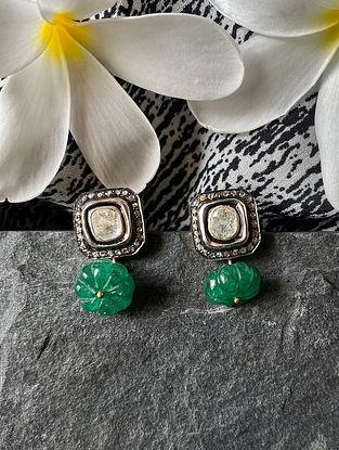 Diamond Silver Polki Earrings with Beryl