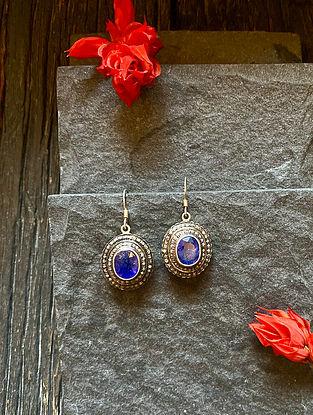 Diamond Silver Polki Earrings with Sapphire