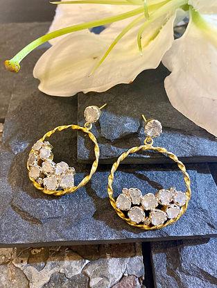 Diamond Silver Polki Hoop Earrings