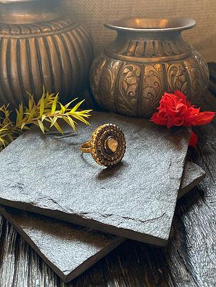 Diamond Silver Adjustable Polki Ring