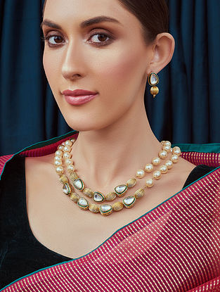 White Gold Tone Kundan Beaded Necklace and Earrings with pearls