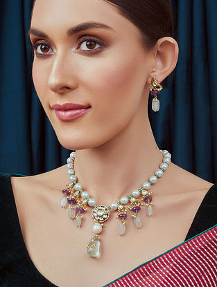 Purple White Gold Tone Kundan Necklace and Earrings with amethyst and pearls
