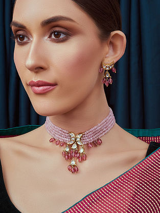 Pink Gold Tone Kundan Necklace and Earrings with agate and jade