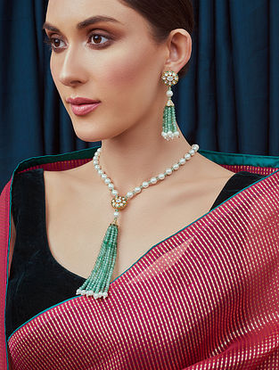 Green White Gold Tone Kundan Beaded Necklace With Earrings