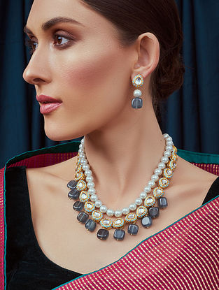 Blue Grey Gold Tone Kundan Necklace and Earrings with agate