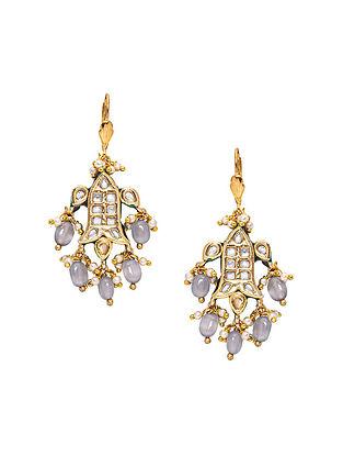 Grey Gold Tone Kundan Earrings with jade