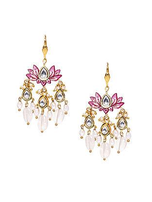Pink white gold Tone Kundan Earrings With Rose Quartz