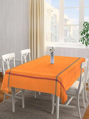 Orange Solid Square Cotton Table Cover (L-60in, W-60 in)