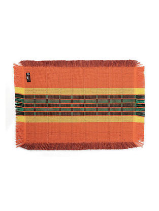 Orange Striped Cotton Table Mats Set of 6 (L-19 in, W-13 in)