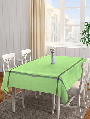 Light Green Solid Square Cotton Table Cover (L-60in, W-60 in)