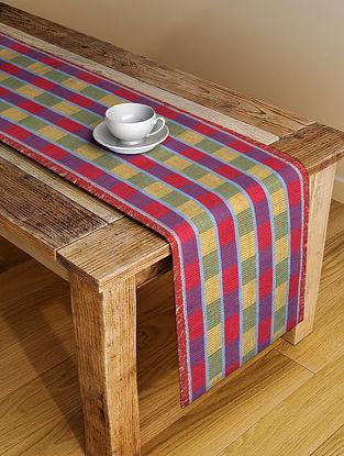 Multicolor Handloom Cotton Table Runner (L-72in, W-13in)