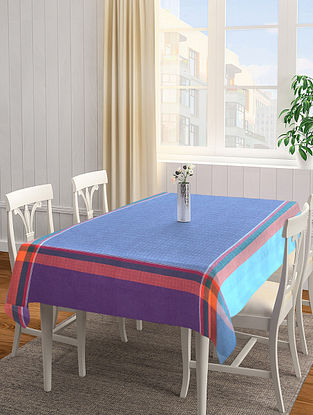 Blue Solid Square Cotton Table Cover (L-60in, W-60 in)