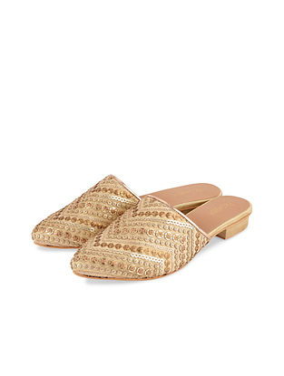 Gold Handcrafted Silk Mules