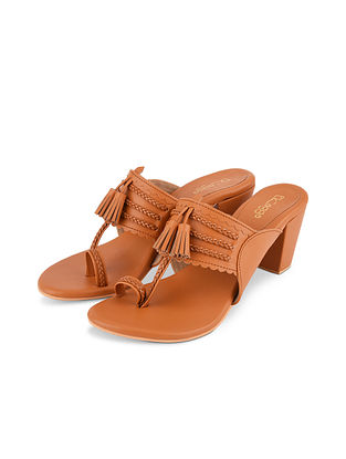 Tan Handcrafted Leather Kolhapuri Block Heels