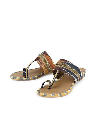 Multicolored Handcrafted Leather Kolhapuri Flats