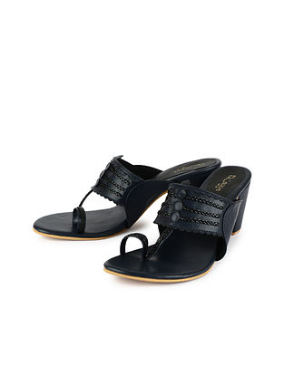 Navy Blue Handcrafted Leather Kolhapuri Block Heels