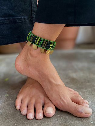 Black Green Silver Tone Handcrafted Anklet