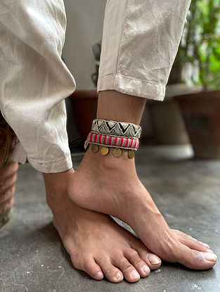 Pink White Handcrafted Anklets