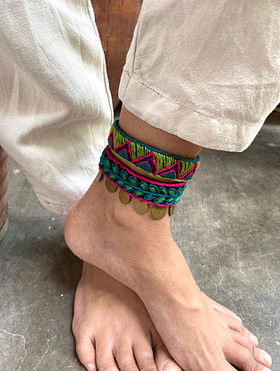 Blue Pink Handcrafted Anklets