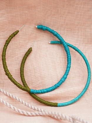 Blue Green Handcrafted Hoop Earrings