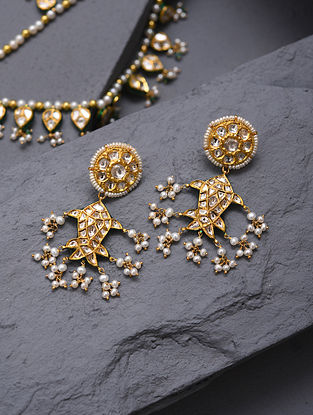 Gold And Diamond Polki Earrings With Pearls