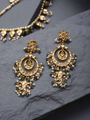 Gold And Diamond Polki Earrings With Pearls And Emeralds