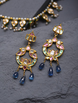 Gold And Diamond Polki Earrings With Beryl And Kynite