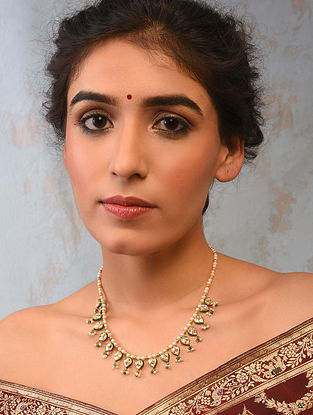 Gold And Diamond Polki Necklace With Pearls And Emeralds