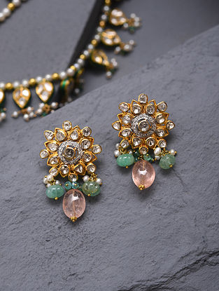 Gold And Diamond Polki Earrings With Pearls Emeralds And Morganite