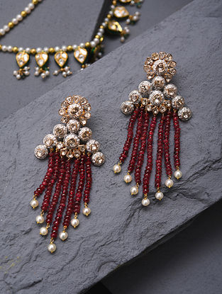 Gold And Diamond Polki Earrings With Pearls And Ruby