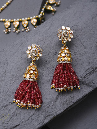 Gold And Diamond Polki Earrings With Ruby