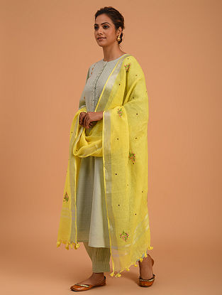Yellow Hand Embroidered Linen Dupatta