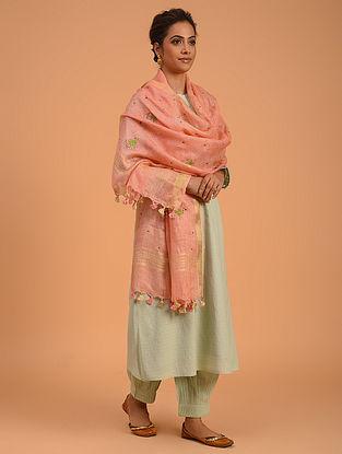 Pink Hand Embroidered Linen Dupatta