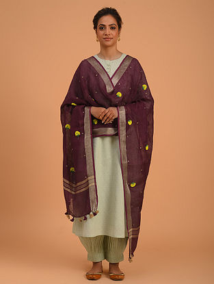 Dark Purple Hand Embroidered Linen Dupatta
