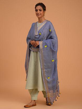Purple Hand Embroidered Linen Dupatta