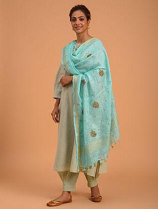 Blue Hand Embroidered Linen Dupatta