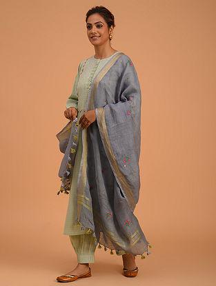 Grey Hand Embroidered Linen Dupatta