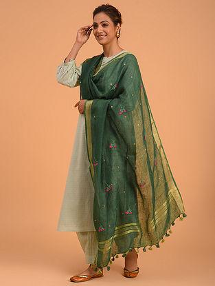 Green Hand Embroidered Linen Dupatta