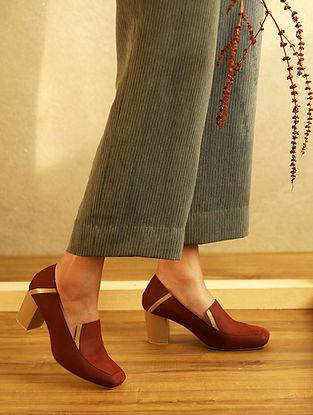 Rust Nude Handcrafted Genuine Leather Block Heels